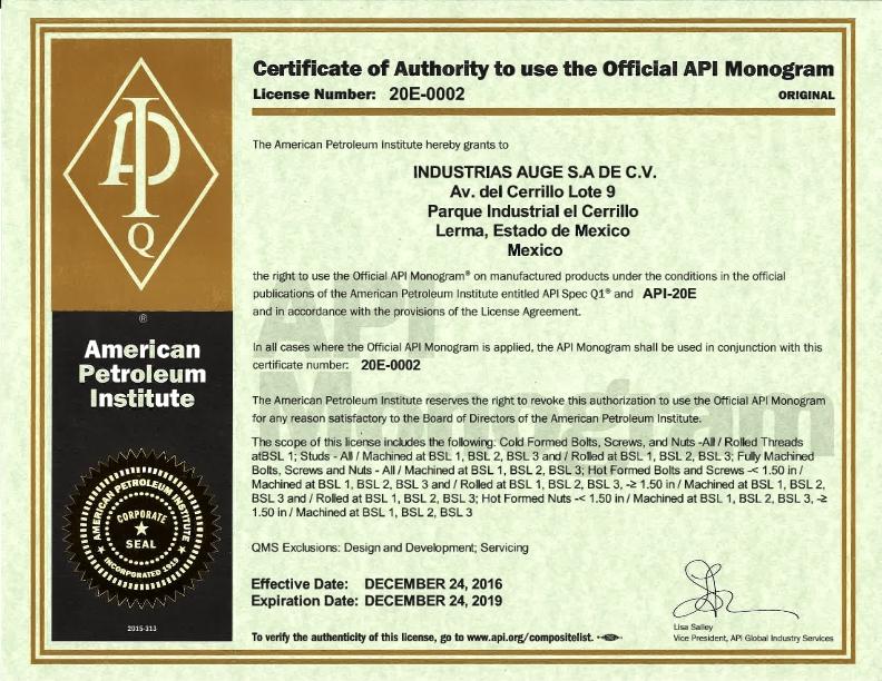 AUGE-API 20E Certification