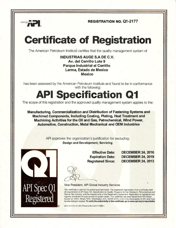 AUGE-API Q1 Certification