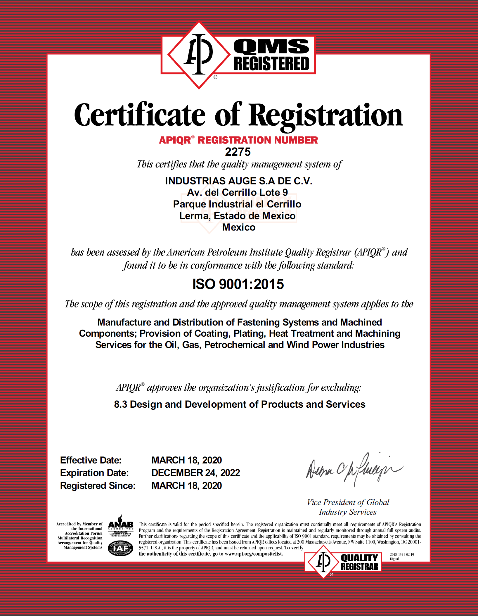 AUGE-ISO 9001 Certification