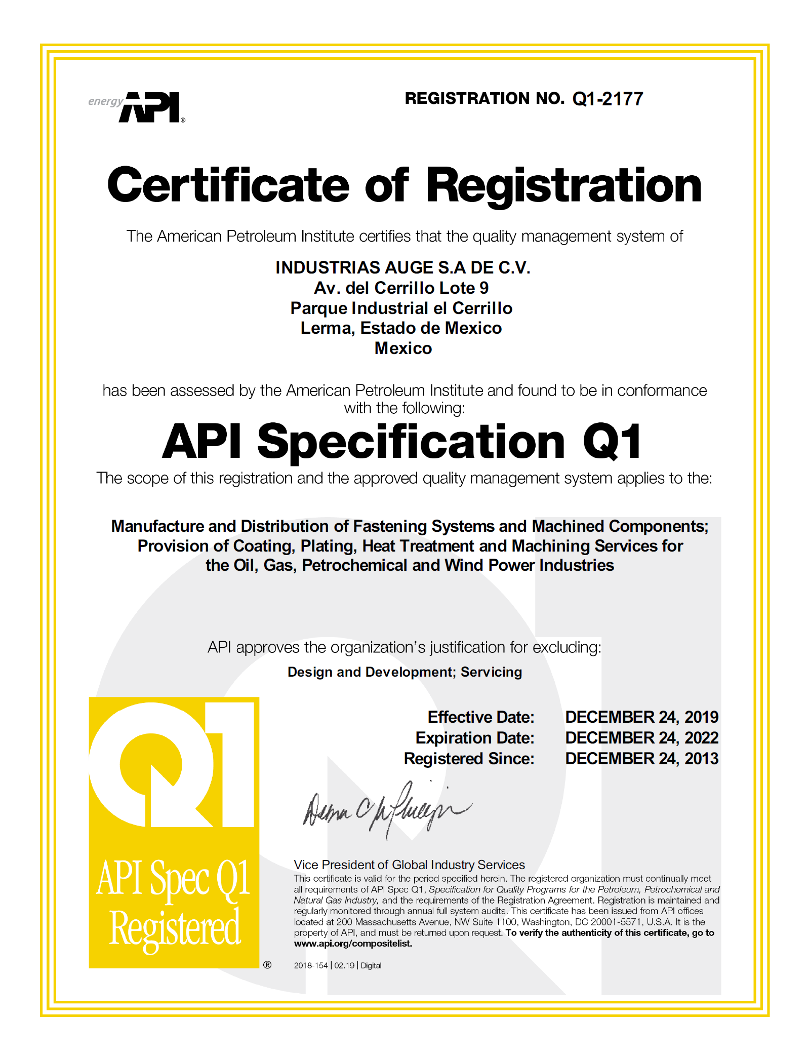 AUGE-API Q1 Certification